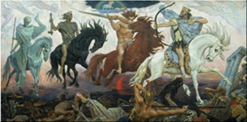 Maleri af Viktor Vasnetsov, 1887. De fire ryttere ved dommedag iflg. Åbenbaringsbogen i Bibelen.